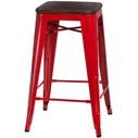 Hoker metalowy z drewnianym siedziskiem Paris Wood 75 czerwony/sosna orzech D2.Design do kuchni, restauracji i baru.