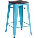 Hoker metalowy z drewnianym siedziskiem Paris Wood 75 niebieski/sosna orzech D2.Design do kuchni, restauracji i baru.