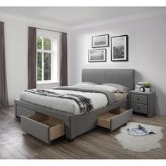 MODENA łóżko tapicerowane popiel