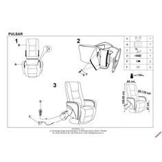 PULSAR recliner z funkcją masażu i podgrzewania popielaty