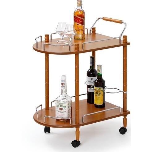 Barek drewniany na kółkach BAR4 buk Halmar na alkohol do salonu.