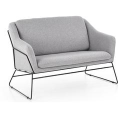 SOFT 2 XL fotel wypoczynkowy podwójny czarny stelaż, jasny popiel