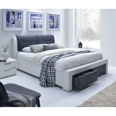CASSANDRA S 140 cm łóżko tapicerowane z szufladami czarno-biały