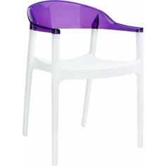 Krzesło CARMEN białe / fioletowe przezroczyste