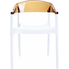 Krzesło CARMEN białe / bursztynowe przezroczyste