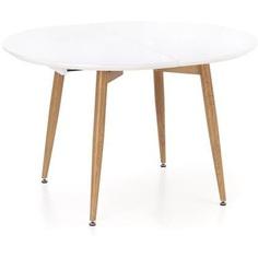 CALIBER stół rozkładany biały / dąb san remo