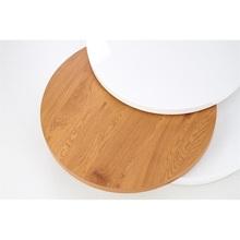 Skandynawska Ława okrągła rozkładana MICHELLE 80 biały/dąb złoty Halmar do salonu, poczekalni lub kawiarni.