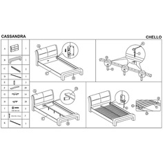 CASSANDRA 120cm łóżko biało-czarny