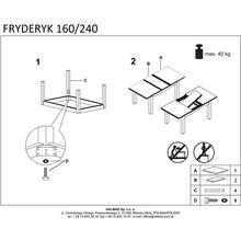 FRYDERYK 160/240 cm stół kolor ciemny orzech