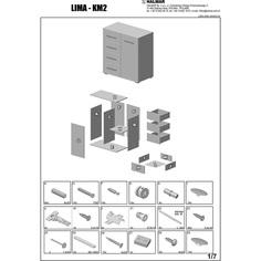 LIMA KM-2 komoda dąb sonoma / biały