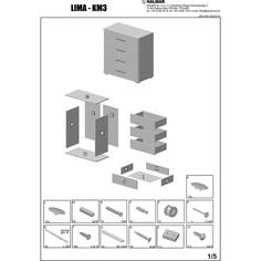 LIMA KM-3 komoda dąb sonoma / biały