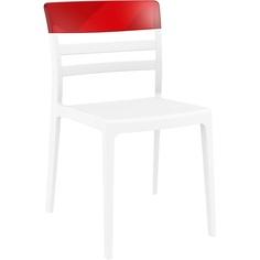 Krzesło MOON białe / czerwone przezroczyste