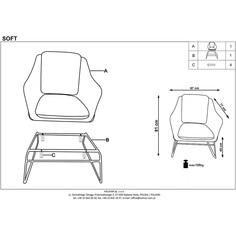 SOFT 2 fotel wypoczynkowy czarny stelaż, jasny popiel