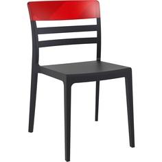 Krzesło MOON czarne / czerwone przezroczyste