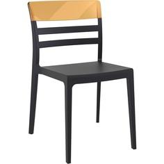 Krzesło MOON czarne / bursztynowe przezroczyste