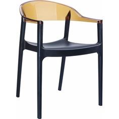 Krzesło CARMEN czarne / bursztynowe przezroczyste