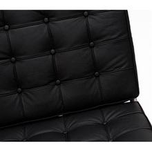Stylowa Sofa pikowana 3 os z ekoskóry Barcelon 180 czarna D2.Design do salonu, poczekalni i kawiarni.