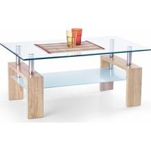 Nowoczesna Ława szklana z półką DIANA INTRO 100x60 przezroczysty/dąb sonoma Halmar do salonu.