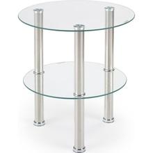 Nowoczesny Szklany stolik boczny z półką SARDINIA 45 przezroczysty/stal Halmar do salonu, poczekalni lub kawiarni.