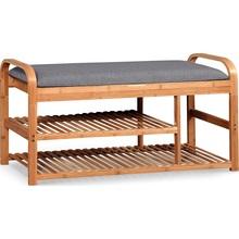 Ławka z półką na buty i siedziskiem ST-13 Bambus/Popiel Halmar do przedpokoju.
