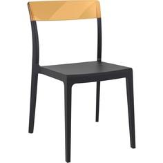 Krzesło FLASH czarne / bursztynowe przezroczyste