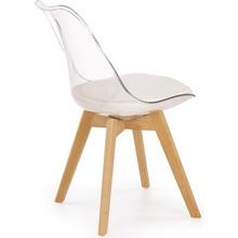 Stylowe Krzesło skandynawskie z poduszką K246 bezbarwny/buk Halmar do kuchni, salonu i restauracji.