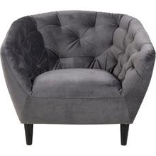 Stylowy Fotel welurowy pikowany Ria Ciemny Szary Actona do salonu i sypialni.