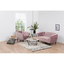 Stylowy Fotel welurowy pikowany Ria Różowy Actona do salonu i sypialni.