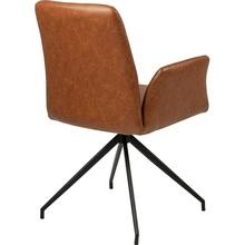 Stylowe Krzesło fotelowe skórzane Naya Brązowe Actona do stołu w jadalni.