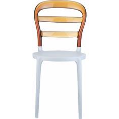 Krzesło MISS BIBI białe / bursztynowe przezroczyste