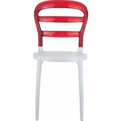 Krzesło MISS BIBI białe / czerwone przezroczyste