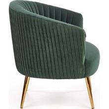 Glamour Fotel welurowy na złotych nogach Crown ciemny zielony Halmar do salonu, sypialni i poczekalni.