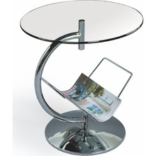 Nowoczesny Szklany stolik boczny z gazetnikiem ALMA 45 chrom/przezroczysty Halmar do salonu, poczekalni lub kawiarni.