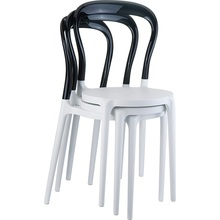 Krzesło MR BOBO białe / czarne przezroczyste