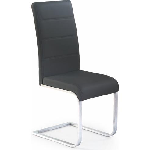 Krzesło nowoczesne z ekoskóry na płozie K85 czarne Halmar do jadalni, kuchni i salonu.