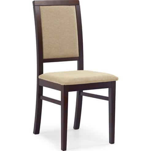 Klasyczne Krzesło drewniane tapicerowane SYLWEK1 ciemny orzech Halmar do kuchni, salonu i jadalni.