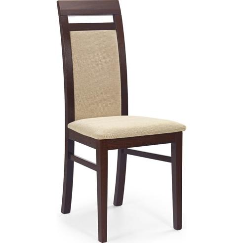 Klasyczne Krzesło drewniane tapicerowane ALBERT ciemny orzech Halmar do kuchni, salonu i jadalni.