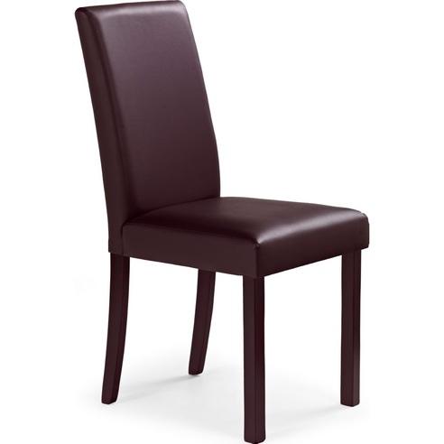 Krzesło z ekoskóry na drewnianych nogach NIKKO ciemno brązowe Halmar do salonu, kuchni i jadalni.