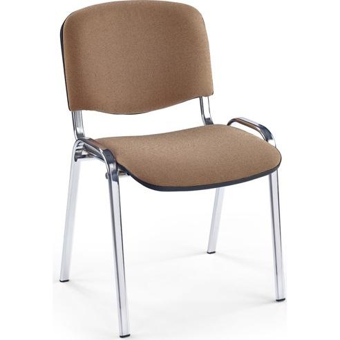Krzesło biurowe tapicerowane ISO beżowy/chrom Halmar