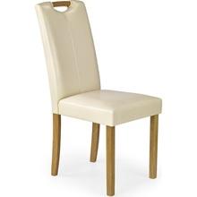 Klasyczne Krzesło z ekoskóry na drewnianych nogach CARO buk/kremowy Halmar do kuchni, salonu i jadalni.