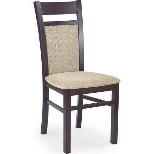 Klasyczne Krzesło drewniane tapicerowane GERARD2 ciemny orzech Halmar do kuchni, salonu i jadalni.