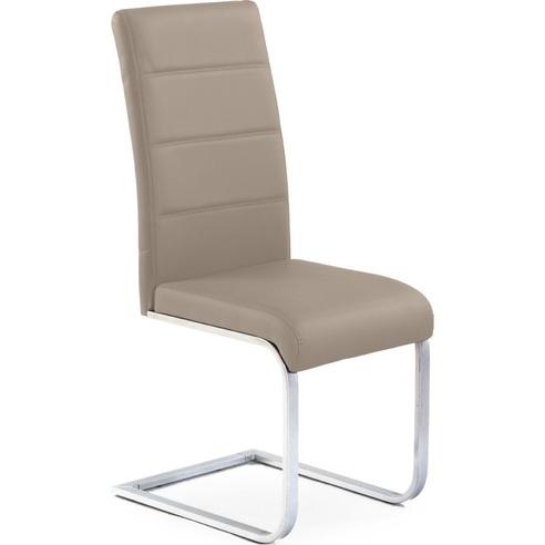Krzesło nowoczesne z ekoskóry na płozie K85 cappucino Halmar do jadalni, kuchni i salonu.