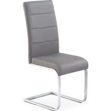 Krzesło nowoczesne z ekoskóry na płozie K85 popielate Halmar do jadalni, kuchni i salonu.