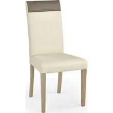 Klasyczne Krzesło z ekoskóry na drewnianych nogach NORBERT krem/dąb sonoma Halmar do kuchni, salonu i jadalni.