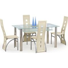 Szklany stół CRISTAL bezbarwny/mleczny 150 Halmar