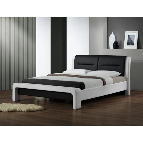 Stylowe Łóżko z ekoskóry CASSANDRA 160 biało-czarny Halmar do sypialni.