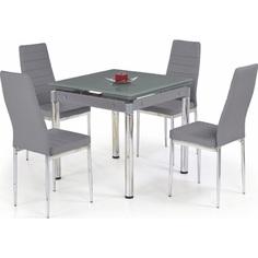 Szklany stół rozkładany KENT popielaty/chrom 80 Halmar