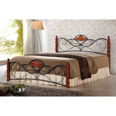 VALENTINA łóżko 160 cm czereśnia ant./czarny