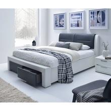 Stylowe Łóżko tapicerowane z szufladami CASSANDRA 160 czarno-biały Halmar do sypialni.