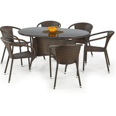 MASTER stół ogrodowy, kolor: szkło - czarny, ratan - c.brąz